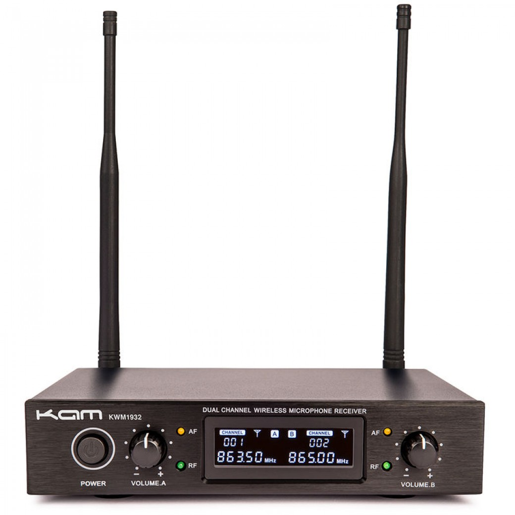 Image of KAM KWM1932 DUAL UHF HANDHELD RADIO MICROPHONE SYSTEM