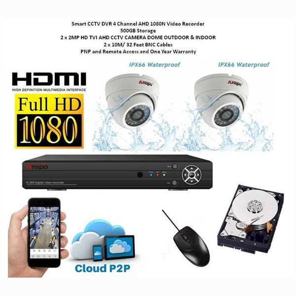 Image of ANSPRO CCTV KIT - 2 CAMERA + 4CH. DVR 500GB